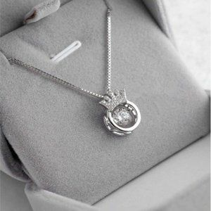 NEW 925 Sterling Silver Diamond Crown Necklace